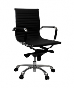 Aero Executive Boardroom Med Back Black PU Office Chair