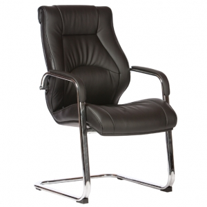 Camry Visitors Cantilever Black Bonded Leather Office Chair with Arms