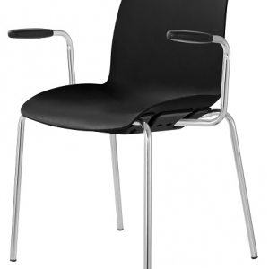 Case Visitors 4 Leg Black Poly Chair with Arms