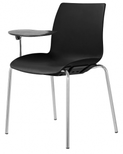 Case Visitors 4 Leg Black Poly Chair with Tablet Arms