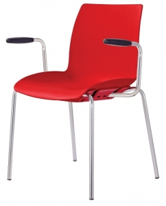 Case Visitors 4 Leg Red Poly Chair with Arms