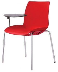 Case Visitors 4 Leg Red Poly Chair with Tablet Arms