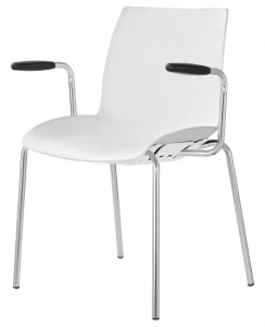 Case Visitors 4 Leg White Poly Chair with Arms