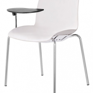 Case Visitors 4 Leg White Poly Chair with Tablet Arms