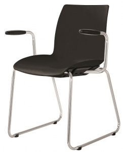 Case Visitors Sled Base Black Poly Chair with Arms