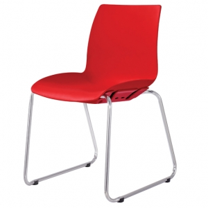 Case Visitors Sled Base Red Poly Chair
