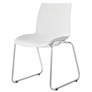 Case Visitors Sled Base White Poly Chair