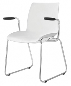 Case Visitors Sled Base White Poly Chair with Arms
