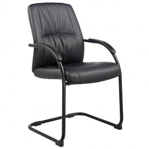 Civic Visitors Cantilever Black PU Office Chair with Arms