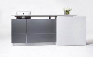 Calvin Modern Reception Desk Metallic Grey, Counter Top White Caesar Stone with White Feature On LHS