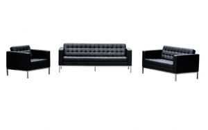 Como 1 + 3 + 2 Seater Black Leather Reception Lounge