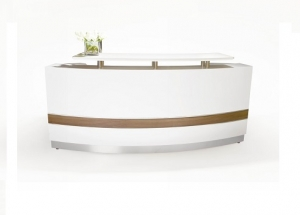 Conservatory Designer Curved Reception Desk Gloss White with Teak Inlay