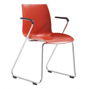 Dona Visitors Sled Base Red Poly Chair with Arms