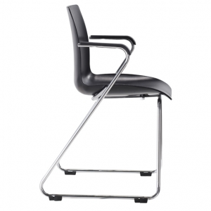 Dona Visitors Sled Base Black Poly Chair with Arms