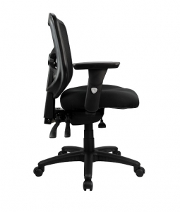 Ultimo Operators Med Back Mesh with Upholstered Seat and Arms Black Office Chair
