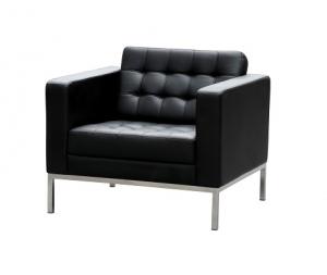Como Single Seater Black Leather Reception Lounge