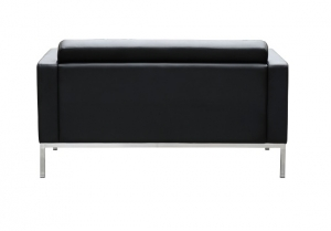 Como Two Seater Black Leather Reception Lounge