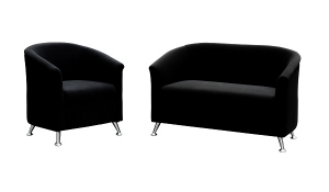 Opera One + Two Seater Reception Lounge Black Fabric