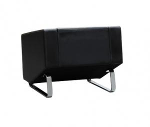 Cube Single Seater Black Leather Reception Lounge