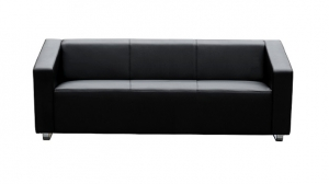 Cube Three Seater Black Leather Reception Lounge