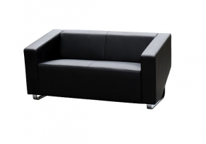 Cube Two Seater Black Leather Reception Lounge