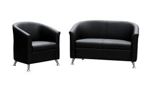 Opera One + Two Seater Reception Lounge Black PU