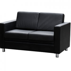 Marcus Two Seater Reception Lounge Black Leather