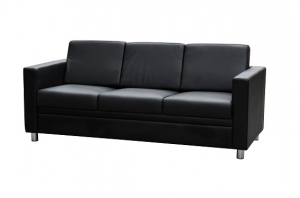 Marcus Three Seater Reception Lounge Black Leather