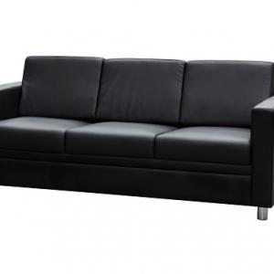 Marcus Three Seater Reception Lounge Black Leather