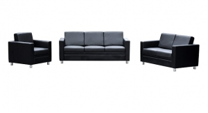Marcus 1+3+2 Seater Reception Lounge Black Leather