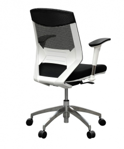 Vogue Executive Med Back Mesh with Arms Frame White Black Fabric & Mesh Office Chair