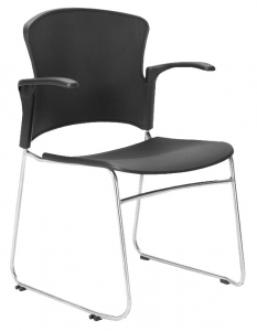 Focus Visitors Sled Base Black Poly Chair with Arms