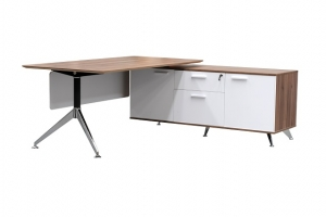Potenza Modern Designer Executive Desk with Return Buffet Colour Casnan/White