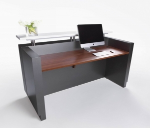 Hugo Modern Reception Desk Metallic Grey, Table Top in Teak & Counter Hob Top in White Caesar Stone