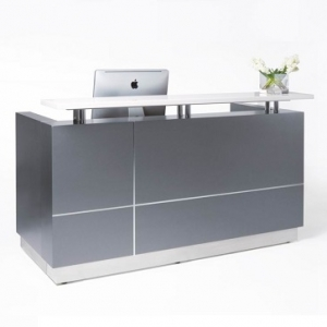 Hugo Modern Reception Desk Metallic Grey, Counter Hob Top in White Caesar Stone