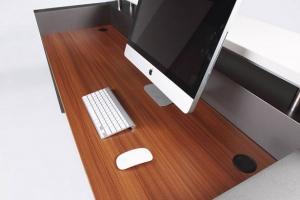 Hugo Modern Reception Desk, Table Top in Teak