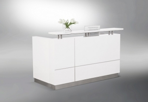 Hugo Designer Reception Desk White Gloss, Feature Alum Trim Lines, Counter Hob Top in White Caesar Stone