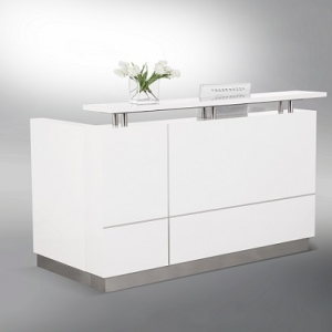 Hugo Designer Reception Desk White Gloss, Feature Alum Trim Lines, Counter Hob Top in White Caesar Stone
