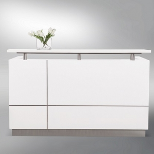 Hugo Modern Reception Desk White Gloss, Feature Alum Trim Lines, Counter Hob Top in White Caesar Stone
