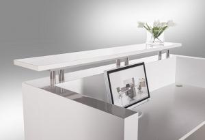 Hugo Modern Reception Desk White Gloss, Table Top in White & Counter Hob Top in White Caesar Stone