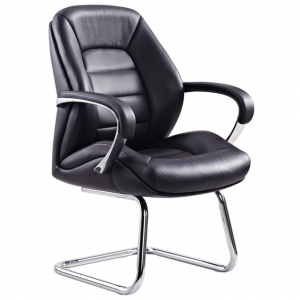 Magnum Visitors Cantilever Office Chair with Arms in Black Leather