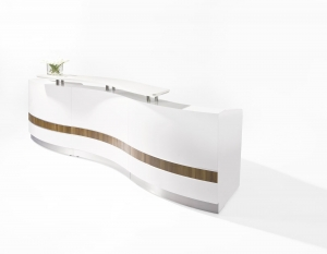Martinique Wave Designer Reception Desk in White Gloss, Counter Hob Top White Caesar Stone, with Teak Inlay