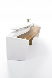 Martinique Wave Designer Reception Counter White Gloss with Teak Table Top