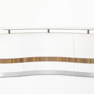 Martinique Wave Designer Reception Counter White Gloss with Teak Inlay