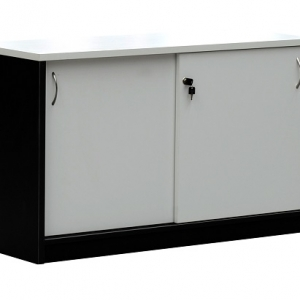 Essentials Express Commercial Sliding Door Credenza 1200W Colour White/Charcoal