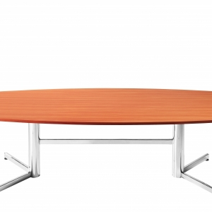 Essentials Boardroom Table 2400W Chrome Base Colour Cherry