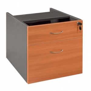 Essentials Express Commercial Desk Pedestal 1+ 1 File Drawer Locking Colour Cherry/Charcoal