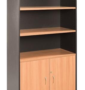 Essentials Express Commercial Half Door Storage Cabinet 1800H Colour Beech/Charcoal