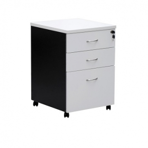 Essentials Express Commercial Mobile Pedestal 3 Drawers Colour White/Charcoal