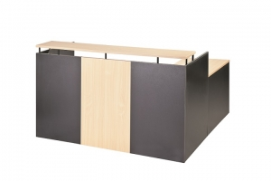 Essentials Express Commercial Reception Counter Desk with Return Colour Beech/Charcoal